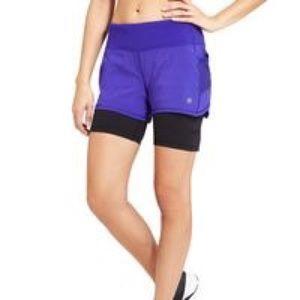 "Athleta Purple Ready Set Go 2 In 1 Short 6"""